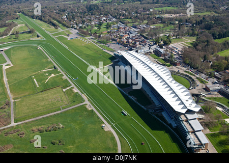 An aerial view of the main grandstand at Ascot Racecourse. - Stock Photo