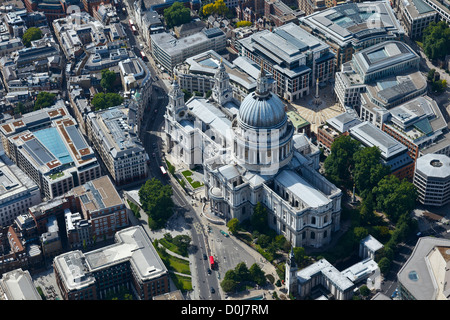 Aerial view of St Paul's Cathedral and surrounding area in London. - Stock Photo