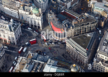 Aerial view of Piccadilly Circus in London. - Stock Photo