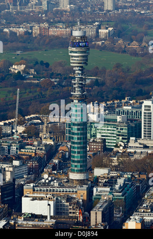 Aerial view of the Telecom Tower in London with Regents Park at the rear. - Stock Photo