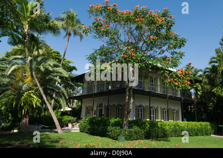 Home where Ernst Hemmingway lived and wrote, Hemingway House Museum, located in tropical garden, Key West, Florida - Stock Photo
