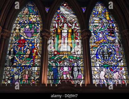 One of the stain glass windows in Southwark cathedral depicting a Shakespeare play. - Stock Photo