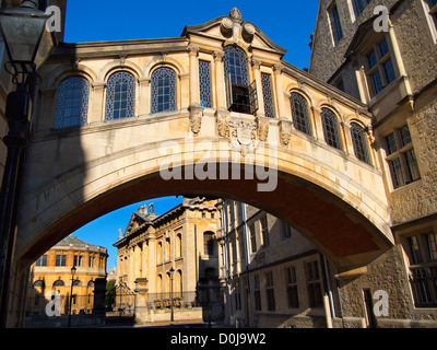 The Bridge of Sighs at Hertford College in Oxford. - Stock Photo