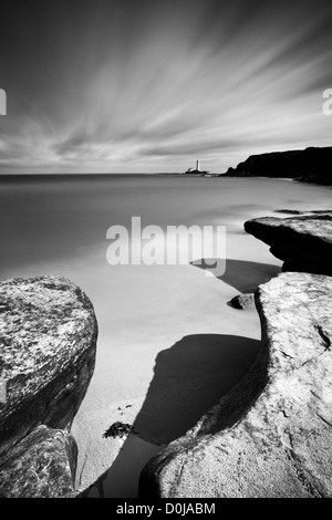 Looking towards St Mary's Island and lighthouse near the town of Whitley Bay. - Stock Photo