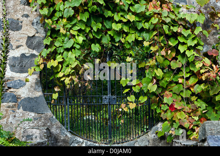 Chinese Moongate at Leith Hall in Aberdeenshire. - Stock Photo