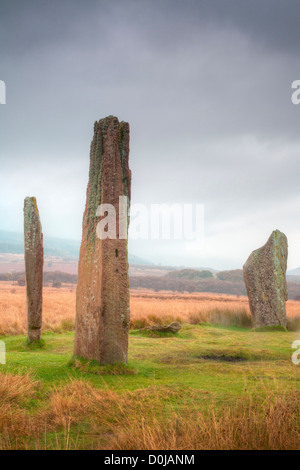 A stone circle at Machrie Moor on the isle of Arran. - Stock Photo