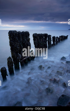 Blue dawn at Porlock Weir on the Exmoor National Park coastline. - Stock Photo