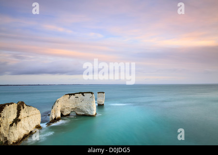 A view along Old Harry Rocks near Swanage on the Dorset coast. - Stock Photo