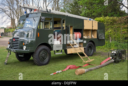 Bedford Green Goddess Fire Engine displayed at a show in Essex. - Stock Photo