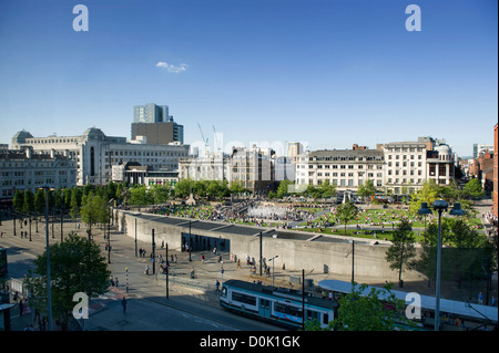 A view of Piccadilly Gardens in Manchester. - Stock Photo