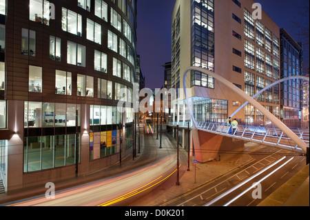 A pedestrian bridge near to Piccadilly railway station. - Stock Photo