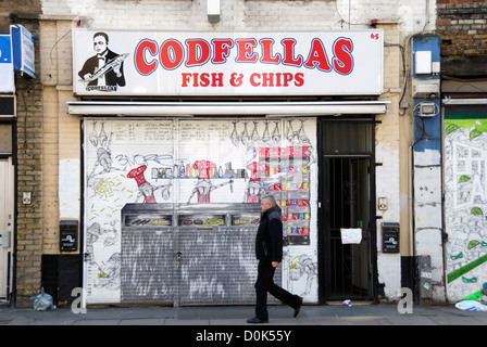 Exterior of Codfellas fish and chip shop in Spitalfields. - Stock Photo