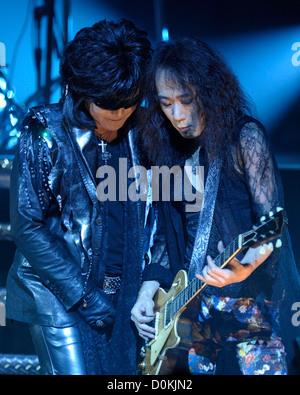 Toshimitsu 'Toshi' Deyama and Tomoaki 'Pata' Ishizuka of 'X Japan' performing on stage at Massey Hall. Toronto Canada - Stock Photo