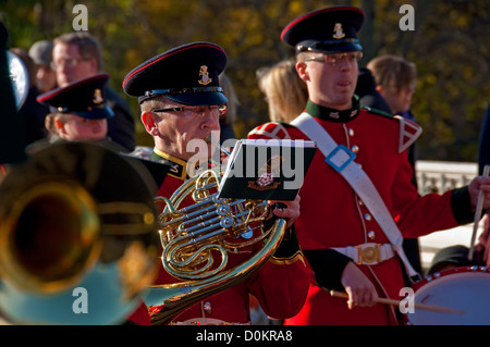The Band of the Yorkshire Regiment playing on Remembrance Sunday York North Yorkshire England UK United Kingdom - Stock Photo