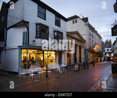 View of City Fish Bar on St Margarets Street in Canterbury in the evening. - Stock Photo