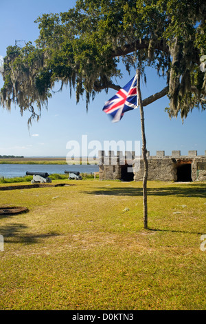 GA00103-00...GEORGIA - The ruins of the 1736 Fort Frederica on Saint Simons Island at Fort Frederica National Monument. - Stock Photo