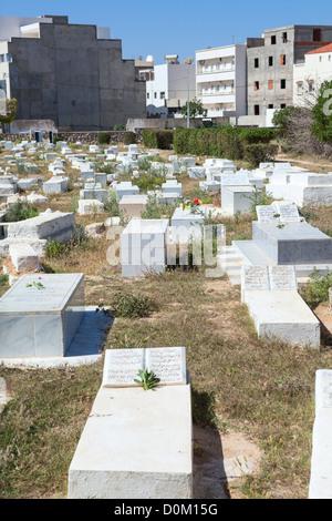 Islamic cemetery close to mausoleum of Habib Bourguiba first president of Tunisia. Monastir city, Tunisia - Stock Photo
