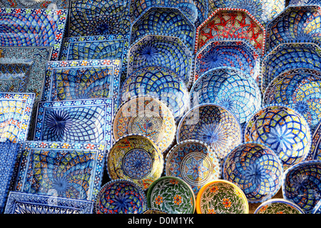 multicolor souvenir earthenware in tunisian market, Sidi Bou Said, Tunisia - Stock Photo