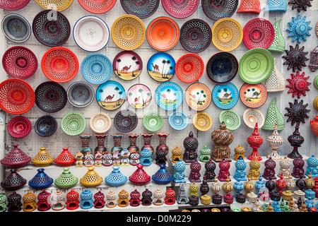 multicolor earthenware in tunisian market - Stock Photo