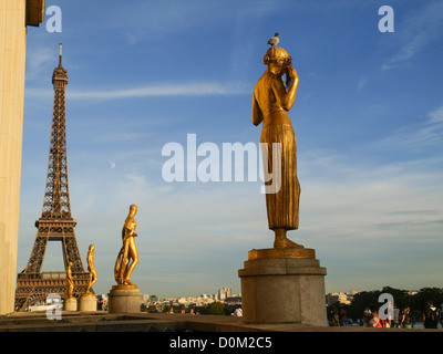 Paris, Eiffel Tower, Tour Eiffel, Trocadero, France - Stock Photo