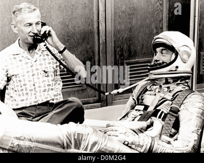 Astronaut Alan Shepard in his pressure suit Mercury-Redstone 3 (MR-3) flight first American manned space flight. - Stock Photo