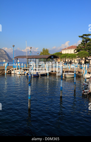 Boats in the harbour on Lake Iseo near Bergamo, Lombardy, Italy, Europe. - Stock Photo