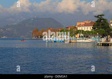 Harbour on Lake Iseo near Bergamo, Lombardy, Italy, Europe. - Stock Photo