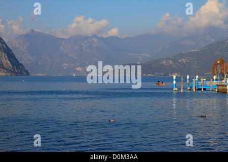 Lake Iseo near Bergamo, Lombardy, Italy, Europe. - Stock Photo