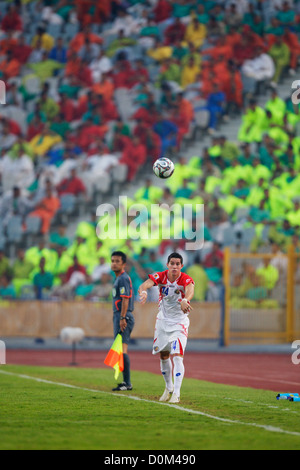 Bryan Oviedo of Costa Rica throws the ball into play during the 2009 FIFA U-20 World Cup third place match against - Stock Photo