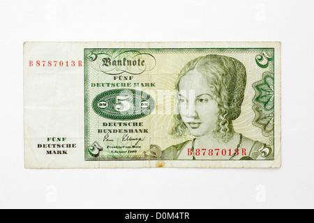 Five Deutsche Mark German Germany banknote funf money 5 DM DEM D-Mark marks - Stock Photo