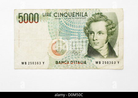 5000 Lire Lira Italian banknote cinquemila five thousand money italy - Stock Photo