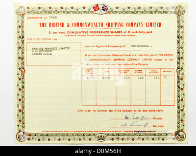 Share certificate of the British and Commonwealth Shipping Agency Limited - Stock Photo