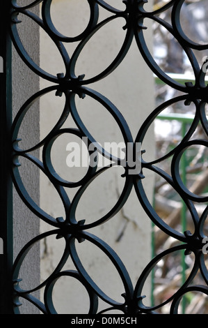 Vintage metal door frame with decorative circles pattern. Abstract background. - Stock Photo