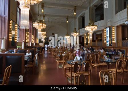 Elk188-1802 Czech Republic, Prague, Municipal House, 1906-12, cafe interior - Stock Photo