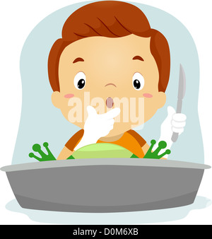 Illustration of a Boy Dissecting a Frog - Stock Photo
