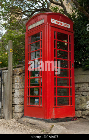 Telephone kiosk converted to information point in the Cotswold village of Stanton in the county of Gloucestershire, - Stock Photo