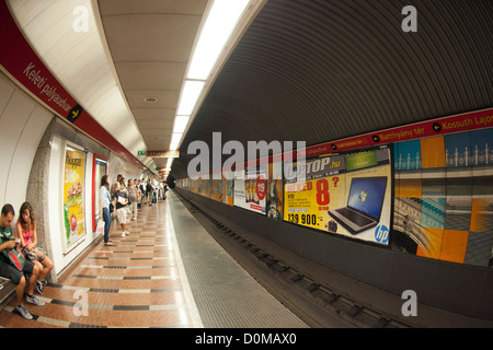 A metro platform and tunnel in Budapest, the capital of Hungary. It is the third oldest underground system in the - Stock Photo
