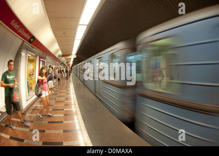 The metro in Budapest, the capital of Hungary. It is the third oldest underground system in the world. - Stock Photo