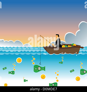 Businessman sitting in a boat and catching money by a fishing rod - Stock Photo