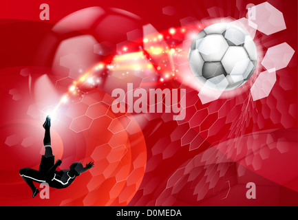 Abstract red soccer sport background with detailed silhouette of a soccer player kicking a soccer ball, smashing - Stock Photo