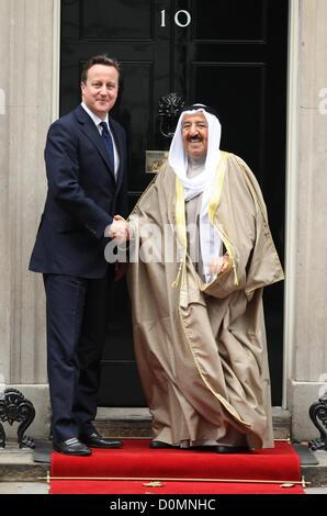 DAVID CAMERON & SHEIKH SABAH AL AHMED BRITISH PRIME MINISTER MEETS EMIR OF KUWAITI LONDON ENGLAND UK 28 November - Stock Photo