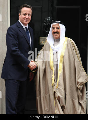 DAVID CAMERON & SHEIKH SABAH AL AHMED BRITISH PRIME MINISTER MEETS EMIR OF KUWAITI LONDON ENGLAND UK 28 November - Stock Photo