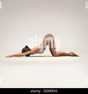 Musculature layered over female body in extended puppy pose showing activity certain muscle groups in this particular - Stock Photo