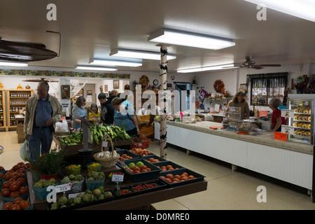 Interior photo of a farmer's market near Hebron, Illinois, USA. - Stock Photo