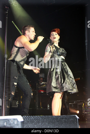 Jake Shears and Ana Matronic of the Scissor Sisters performing live at Terminal 5 New York City, USA - 25.08.10 - Stock Photo
