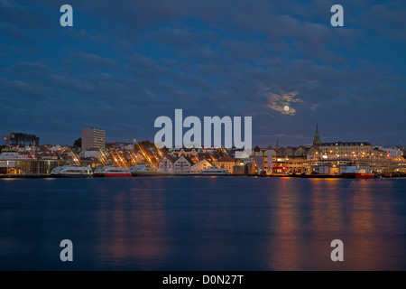 Night panorama of the port city of Stavanger, Norway. - Stock Photo