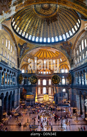 The interior of Aya Sofya viewed from the first floor in Istanbul, Turkey - Stock Photo