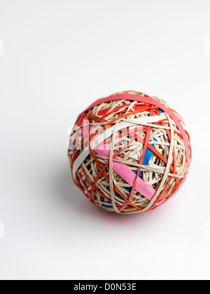 rubber band ball, ball made up of rubber bands wound over each other