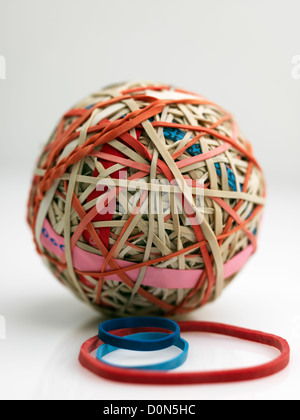 rubber band ball, ball made up of rubber bands wound over each other - Stock Photo