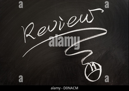 Review word and mouse symbol drawn on the blackboard - Stock Photo